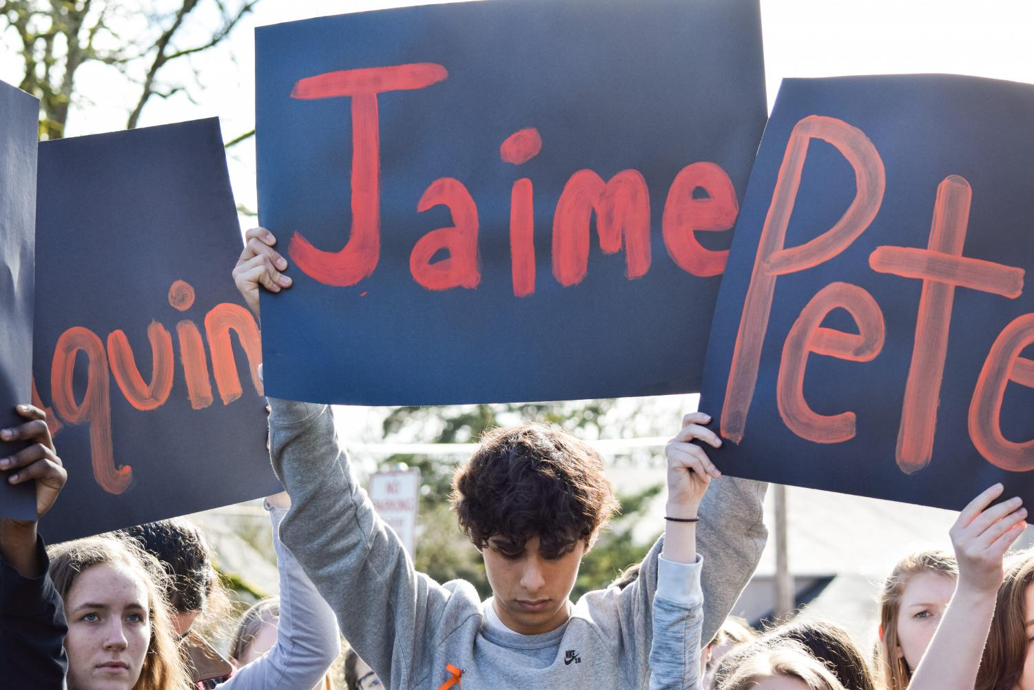 Students participated in a nationwide walk out and stood in silence for 17 minutes to honor the 17 killed in Parkland, Florida one month prior.