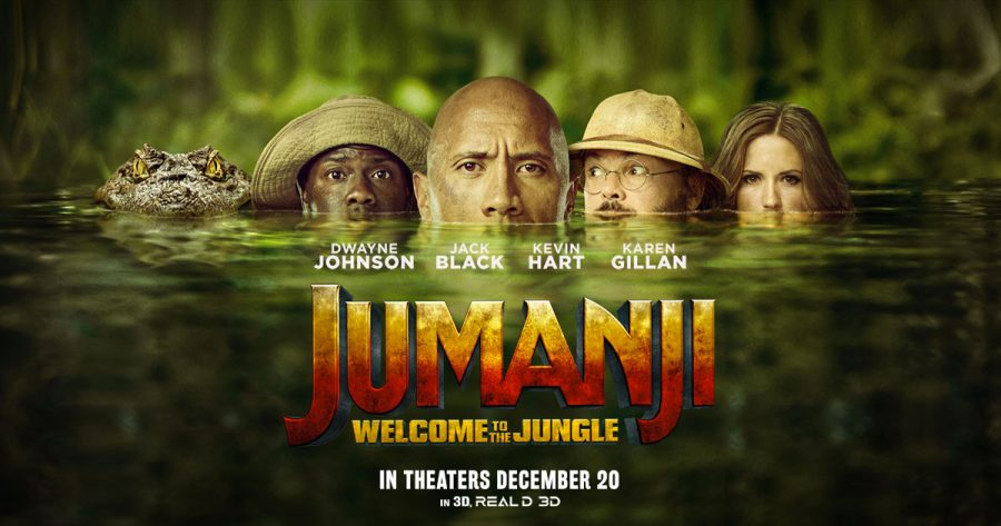 Photo courtesy of Jumanjimovie.com. The poster showcases the star-power in the new cast, including Jack Black, Dwayne Johnson and Kevin Hart.