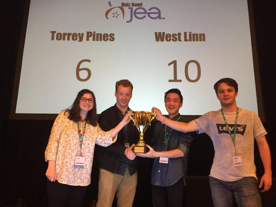 Celebrating their win, the Quiz Bowl team bounces back in the final round against their opponent Torrey Pines High School, the team that beat them in the national competition last year.