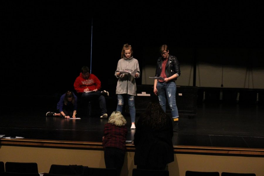 """Upper West Side Story"" directors Hannah Schwartz and Emma Kirby help actors with lines and blocking. Gwyn Seward, sophomore, who plays the role of Meredith, says a key to acting is to ""Get in tune with your emotions, even if it is difficult, pull past experiences even if they are sad, or they make you angry, or really happy. But if you have those pulled up then you can apply them to different [acting] situations. Be in touch with who you are."""