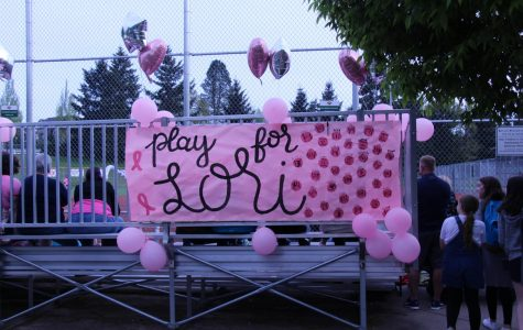 "Greeting fans, a ""Play for Lori"" banner at the Rosemont Ridge Middle School announces the team's efforts to support local cancer survivors."