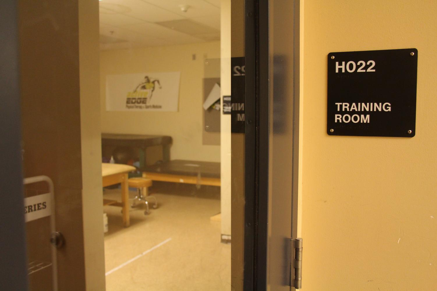 Located right next to the weight room, the training room is where Feuerherd is stationed. Students come here to have  injuries treated.