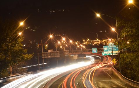 Cars light up the freeway at 9:00 on the freeway. As commuters make their way home on 205, their bright headlights break through the shadows of the evening. Along with the harsh street lights, they fill up the area in what seems like an elaborate light show.
