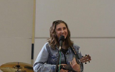 """On the ukulele, student singer-songwriter Sarah Horn, sophomore, performs covers of """"Riptide"""" by Vance Joy and """"Almost There"""" from Disney's """"The Princess and the Frog"""" as well as an original song called """"Skyline""""."""