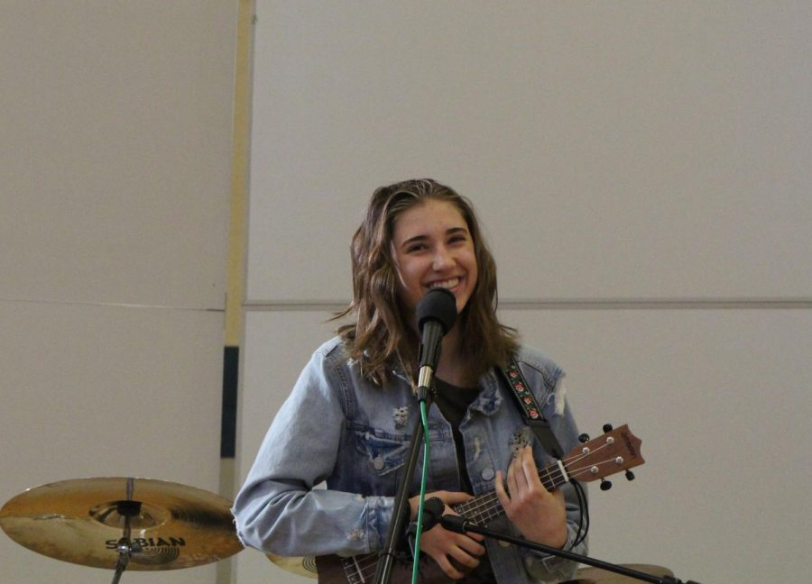 "On the ukulele, student singer-songwriter Sarah Horn, sophomore, performs covers of ""Riptide"" by Vance Joy and ""Almost There"" from Disney's ""The Princess and the Frog"" as well as an original song called ""Skyline""."