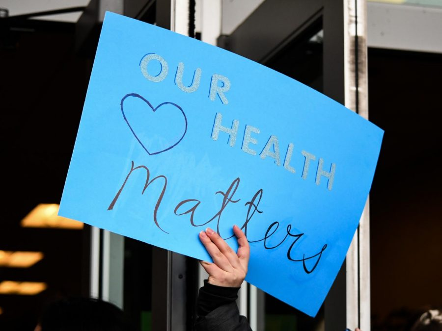Students+walked+out+of+school+on+Feb.+4+in+support+of+changes+to+health+curriculum.