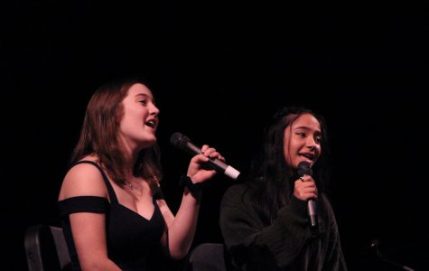 """To close the show, Kamerin Villagomez and Audrey Lipsey, juniors, perform a duet to """"Lucky"""" by Jason Mraz."""