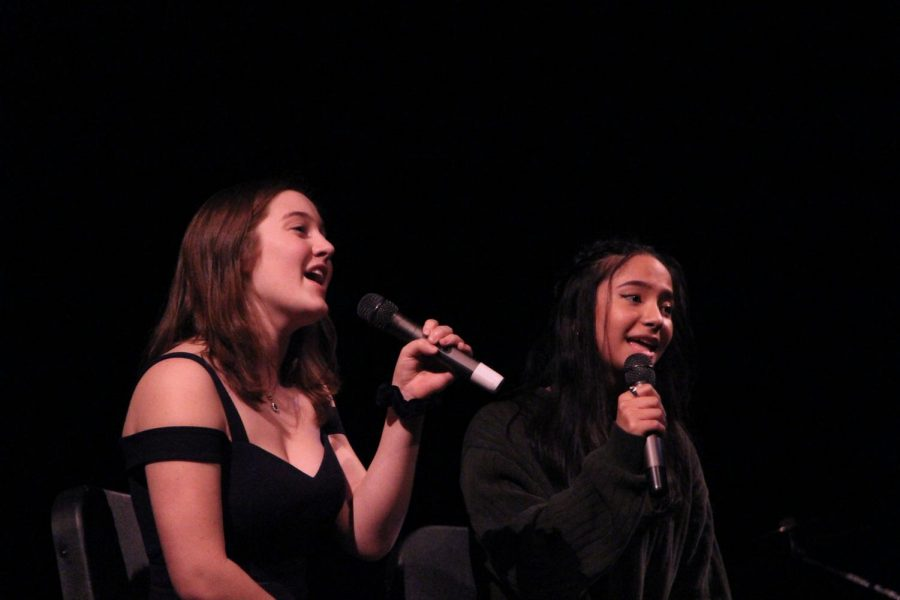 "To close the show, Kamerin Villagomez and Audrey Lipsey, juniors, perform a duet to ""Lucky"" by Jason Mraz."