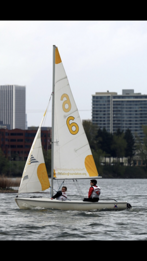 Ella Notdurft practicing with the Portland sailing team.