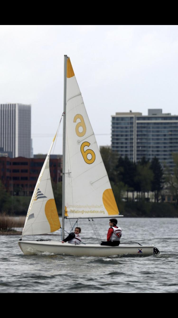 Ella Notdurft practicing with the Portland sailing team.