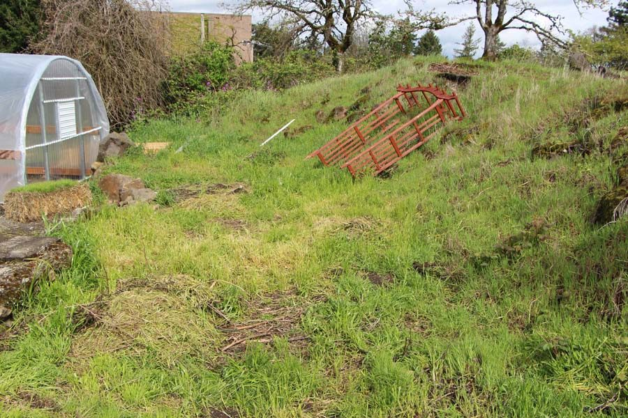 What may look like overgrown grass will eventually be turned int planting beds