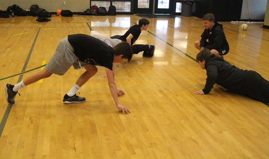 Teams who lost had to drop and give ten push-ups.