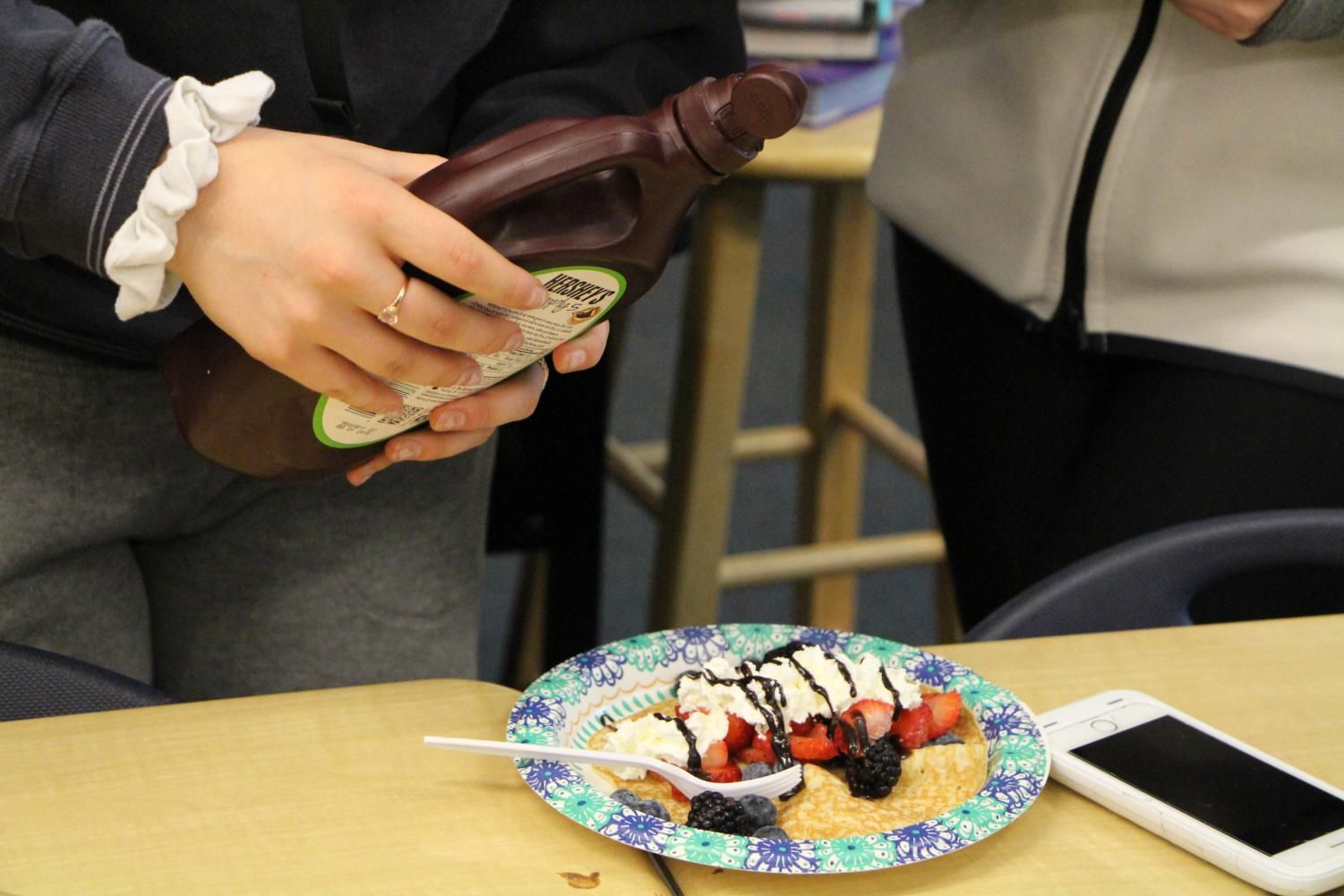 Chocolate+syrup+and+whipped+cream+were+among+students%27+favorite+toppings+to+use.+%22The+crepes+were+fire%2C%22+Graham+Davis%2C+sophomore%2C+said.+%22I+just+wish+they+had+more+whipped+cream%2C+because+they+ran+out+really+fast.%22