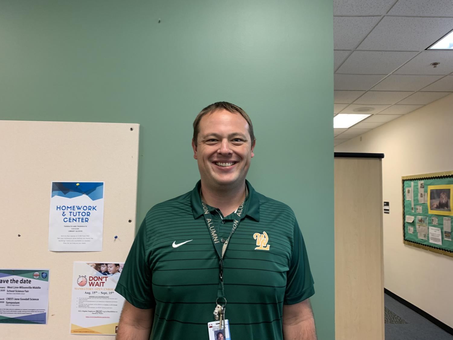 Trevor Menne in his office at the beginning of the 2019-2020 school year.