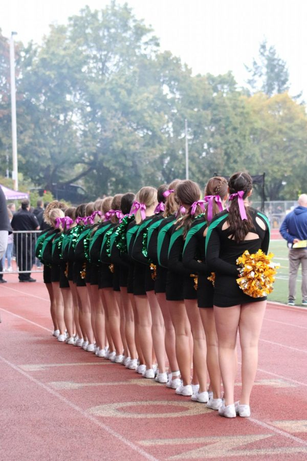 Cheerleaders wave on respect during the national anthem.