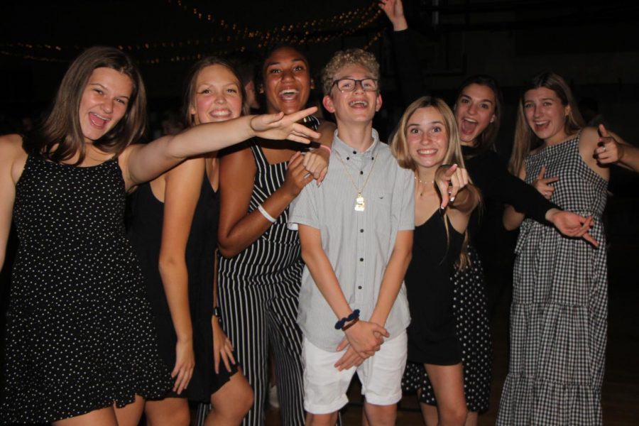 Members of ASB pose at the Black and White Dance .