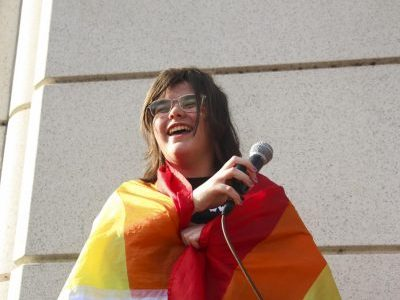 "Standing in front of at least 100 people, Susie Walters, senior, laughs as she starts her speech about inclusion to the present student body. Co-president of Gender Sexuality Alliance, Walters organized the walkout on Nov. 8 to celebrate the LGBTQ+ community at the school. ""The purpose of this demonstration is to allow students to show solidarity with their LGBTQ+ peers and to peacefully address the culture of intolerance on the WLHS campus,"" a press release published by GSA stated. Walters soon shared her own story and the message for the demonstration. ""I want you to treat this day, and the rest of your life, like a pride celebration,"" Walters said."