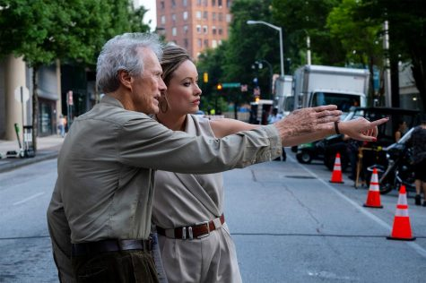 "On the set of ""Richard Jewell,"" Olivia Wilde and Clint Eastwood."