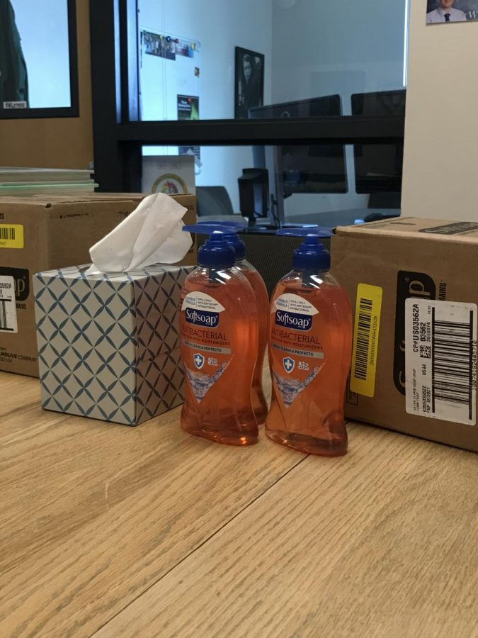 Hand soap and tissues in the main office.