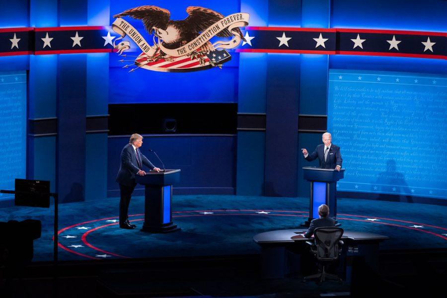 The+first+socially+distanced+presidential+debate+for+the+2020+election+with+President+Donald+Trump+and+former+Vice+President+Joe+Biden.+Photo+courtesy+of+Adam+Schultz+under+Creative+Commons+license.+