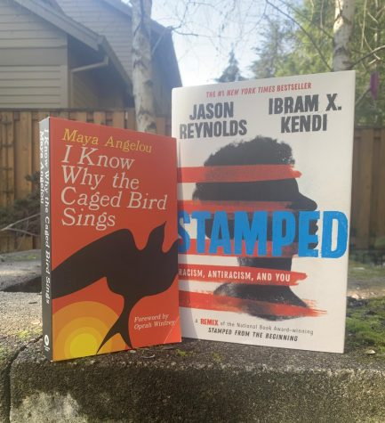 """I Know Why the Caged Bird Sings""  by Maya Angelou and ""Stamped"" by Ibram X. Kendi and Jason Reynolds. Photo by Helena Erdahl"