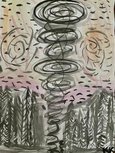 Among Us-original watercolor painting by Kaelin Kehm