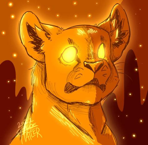 Midnight Lion-original digital artwork by Chloe Hatler.